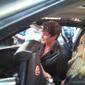 David Hasselhoff signing Catherine Hickland's KITT